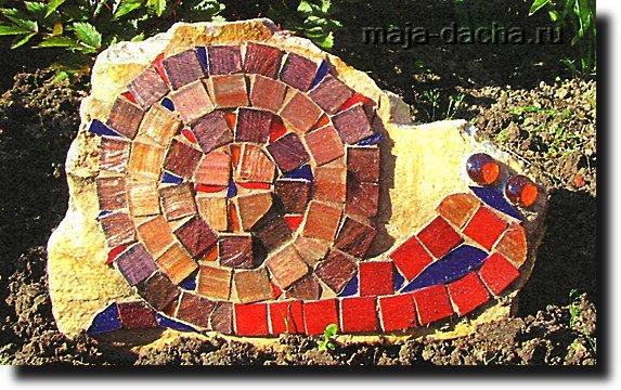 Декоративная улитка на камне своими руками фото