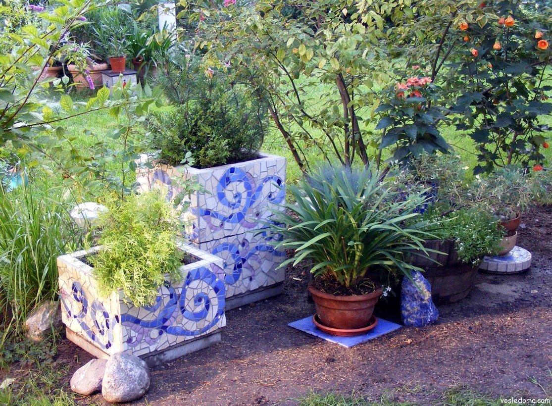 Применение мозаики в саду