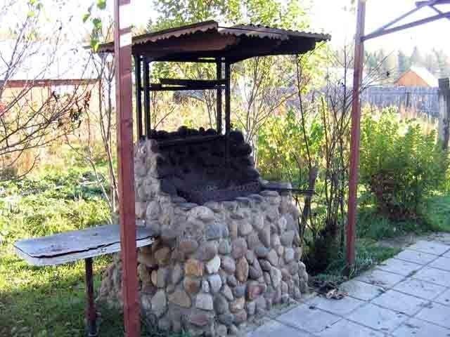 Мангал с крышей на даче фото