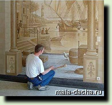 Художественная роспись деревянного дома фото