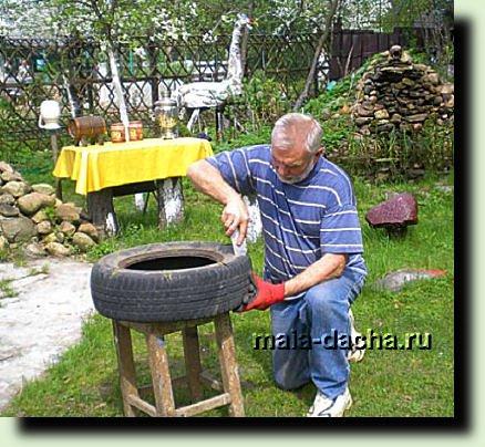 Поделки из шин для дачи своими руками