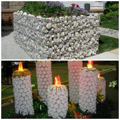 Клумба из камней и свечи из пластиковых бутылок