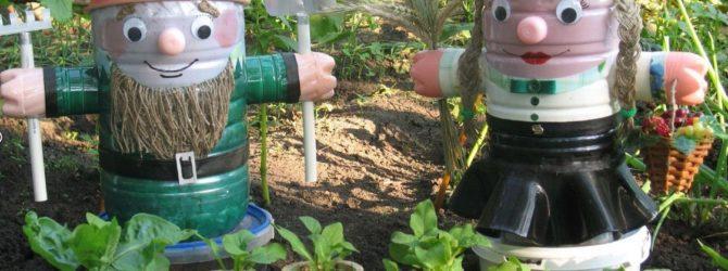 Украшаем участок пластиковыми бутылками