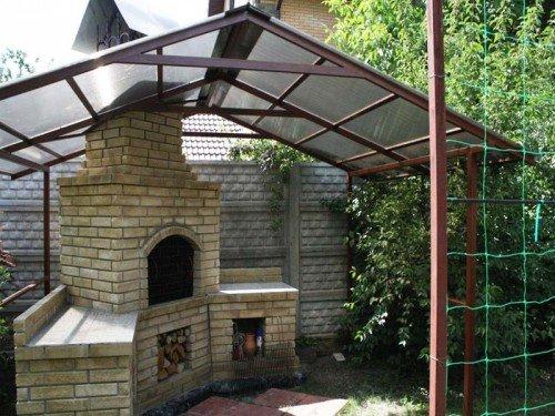 Навес на даче со скатной крышей