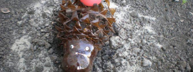 Делаем ежа из пластиковых бутылок