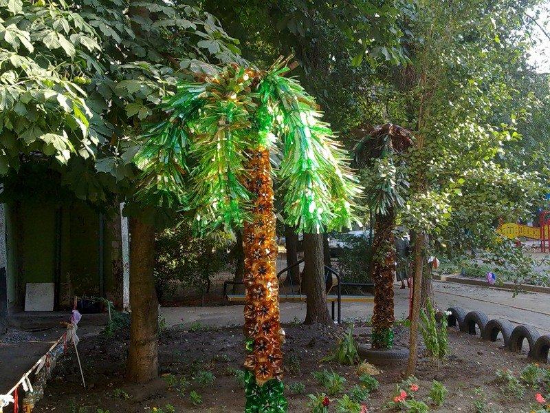 Пальма из пластиковых бутылок своими руками