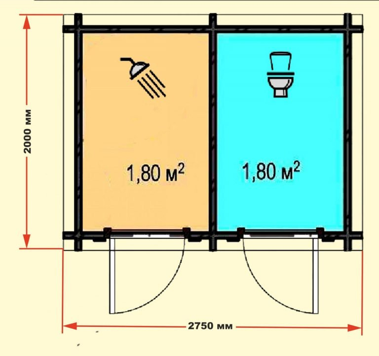 Дачный туалет и душ с поэтапным