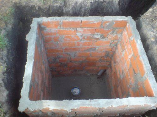 Кирпичная кладка стен в яме