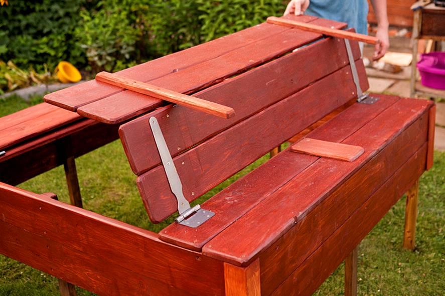 Песочница с крышкой-скамейкой своими руками фото фото 352