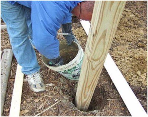 Бетонирование основания столба для деревянного забора