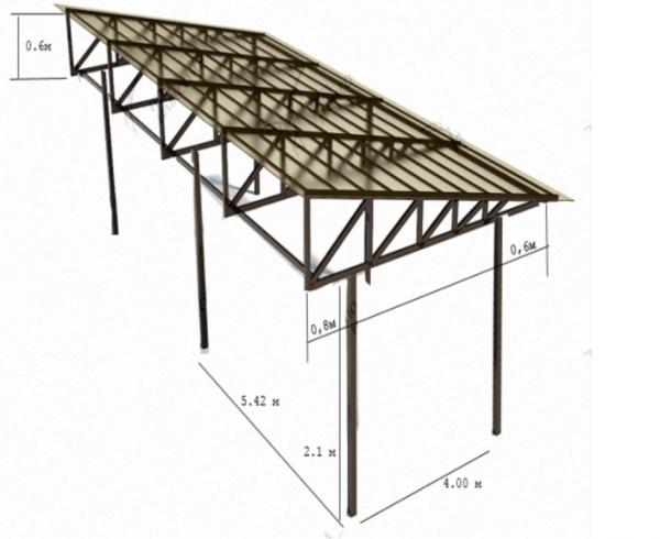 Беседка из профильной трубы с односкатной крышей