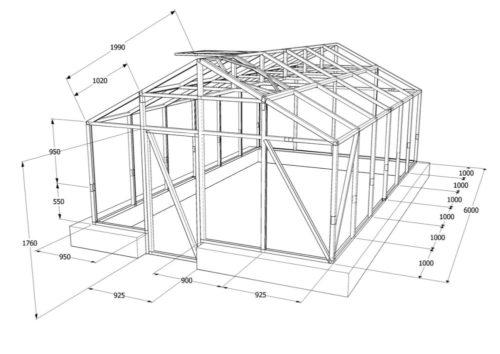 Схема конструкции теплицы из оконных рам