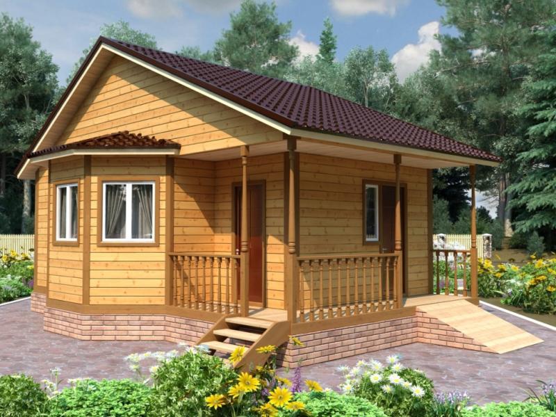 Деревянная баня с двухскатной крышей