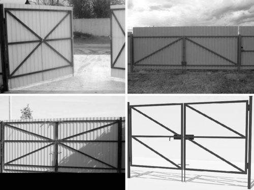 Разные типы каркаса распашных ворот