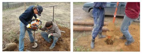 Мотобур для бурения отверстий в почве