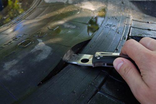 Обрезка фрагмента покрышки