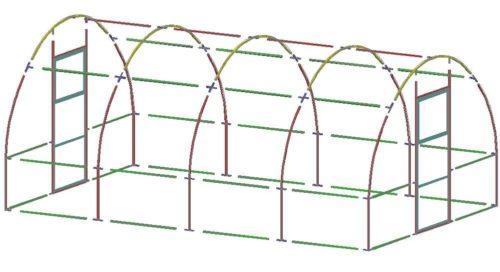 Схема арочного парника с дверями в торце