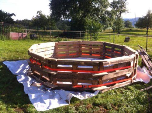Каркасный бассейн из палет