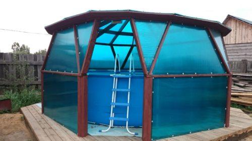 Каркасный бассейн в специально оборудованном помещении