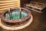 Круглая купель с мозаикой