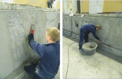 затирают оштукатуренные стены бассейна