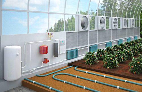 Радиаторное отопление теплицы