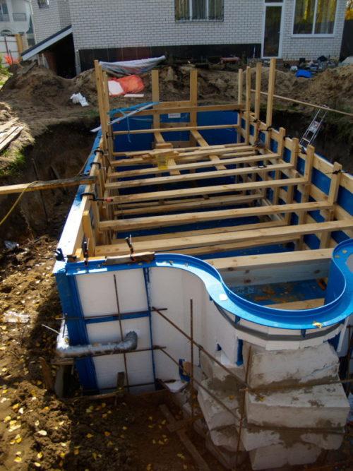 Подготовка к заливке бетона вокруг чаши бассейна
