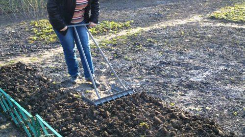 Разрыхление лёгкой почвы при помощи культиватора