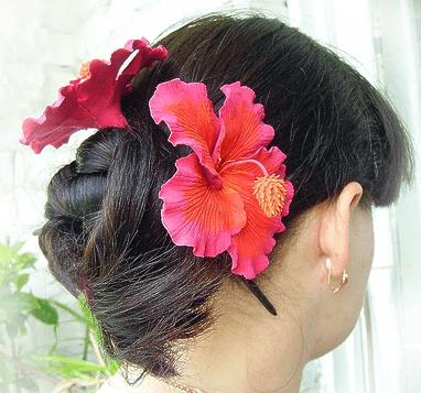 Причёска с цветками гибискуса