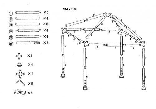 Схема квадратного разборного шатра