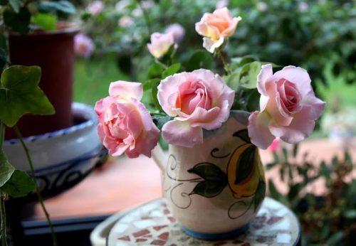 Розы в керамической вазе