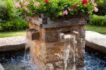 цветы у фонтана