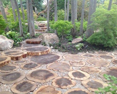 Дорожка и поляна в саду пейзажного дизайна