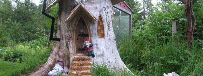 поделки из стволов деревьев на даче
